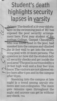 Students death highlights security lapses in Varsity (University Rajasthan College (URC))