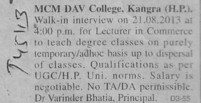 Lecturer in Commerce (MCM DAV College)