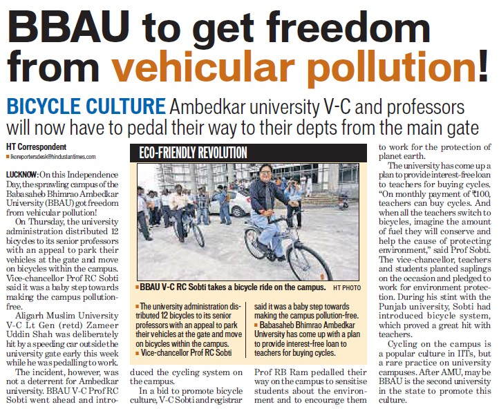 BBAU get freedom from vehicular pollution (Babasaheb Bhimrao Ambedkar University)