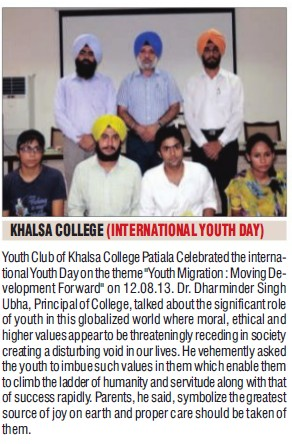 International Youth day celebrated (Khalsa College)