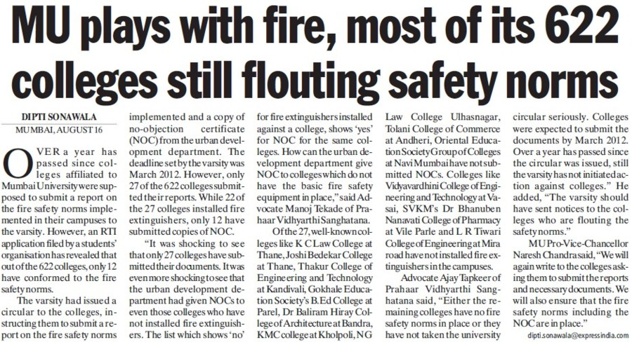 MU plays with fire (University of Mumbai (UoM))