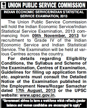 Indian Economic Service Examination 2013 (Union Public Service Commission (UPSC))