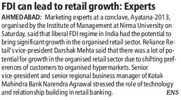 FDI can lead to retail growth, Experts (Nirma University)
