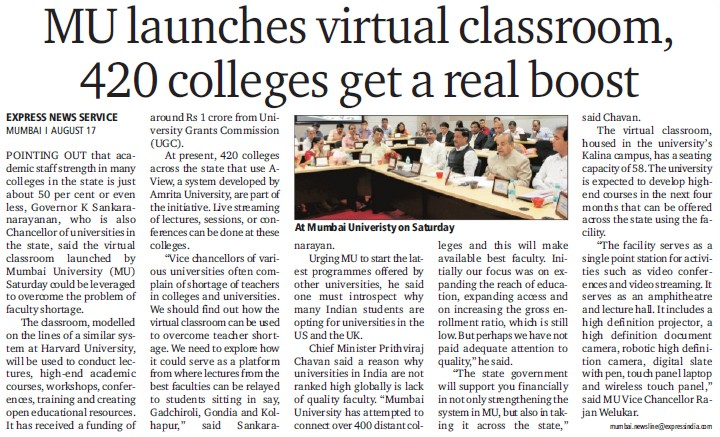 MU launches virtual classroom (University of Mumbai (UoM))