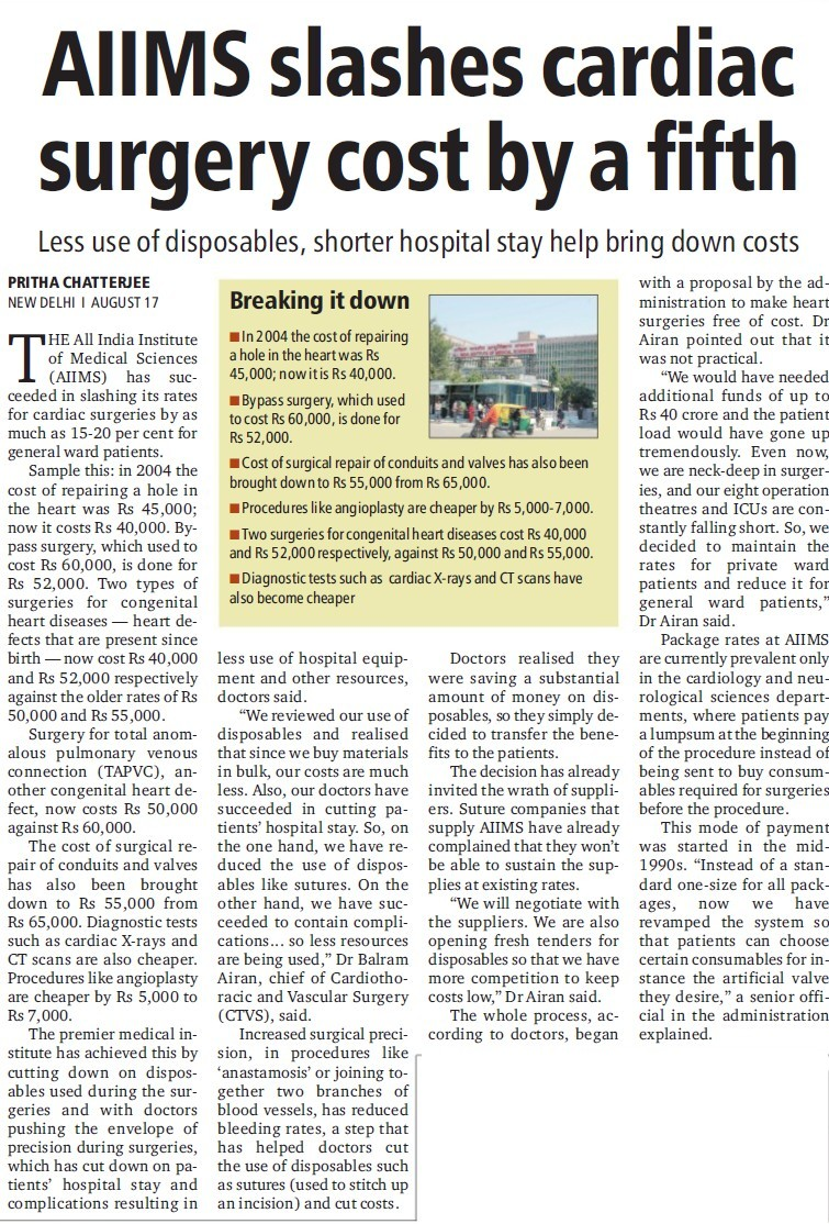 AIIMS slashes cardiac surgery (All India Institute of Medical Sciences (AIIMS))