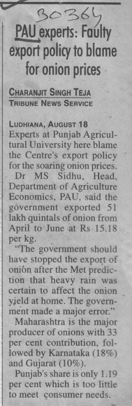 Faulty export policy to blame for onion prices (Punjab Agricultural University PAU)
