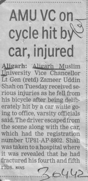AMU VC on cycle hit by car, injured (Aligarh Muslim University (AMU))