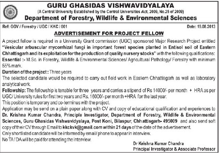 Project Fellow (Guru Ghasidas University)