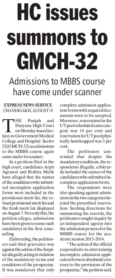 HC issues summons to GMCH 32 (Government Medical College and Hospital (Sector 32))