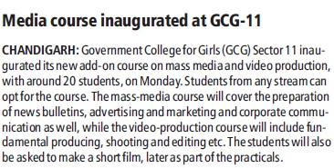 Media course inaugurated at GCG (Government College for Girls (Sector 11))