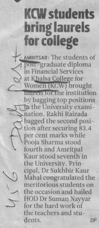 KCW students bring laurels for college (Khalsa College for Women)