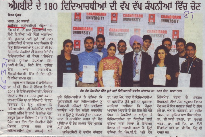 180 students selected for job (Chandigarh University)