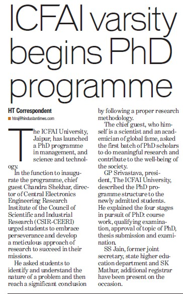 ICFAI begins PhD Programme (ICFAI University)