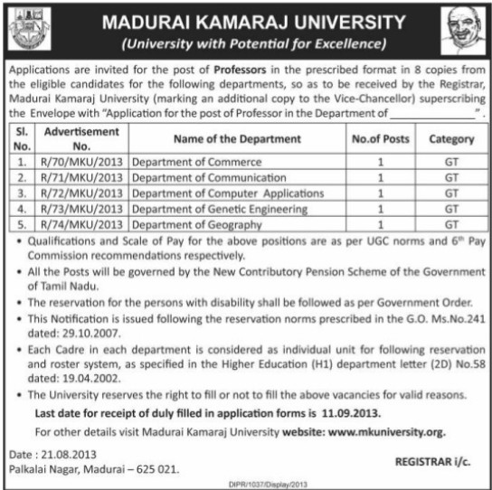 Professor for Commerce department (Madurai Kamaraj University)
