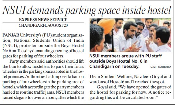 NSUI demands parking space inside hostel (National Students Union of India NSUI Punjab)