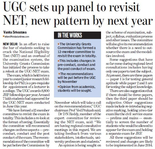 UGC sets panel to revisit NET (University Grants Commission (UGC))