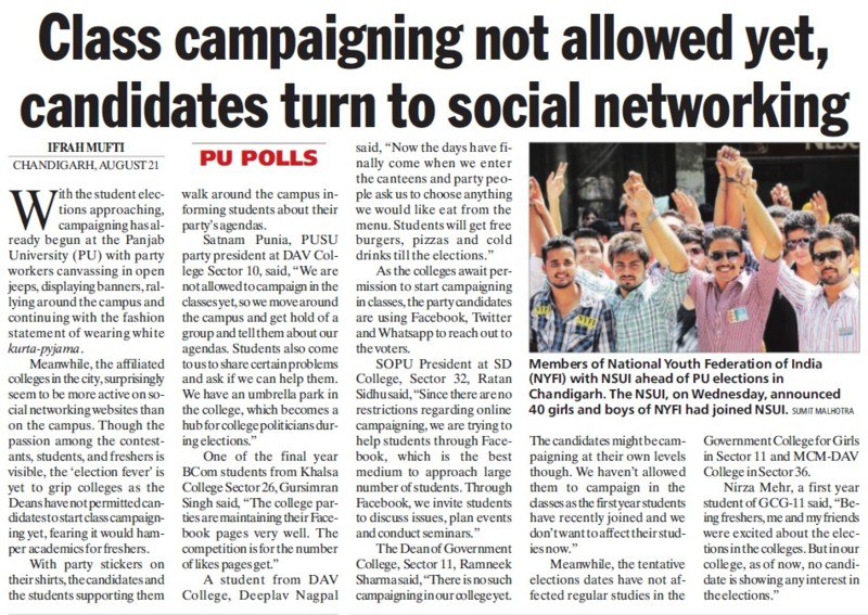 Candidates turn to social networking (National Students Union of India NSUI Punjab)