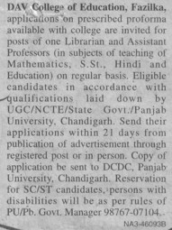 Librarian and Asstt Professor (DAV College of Education)