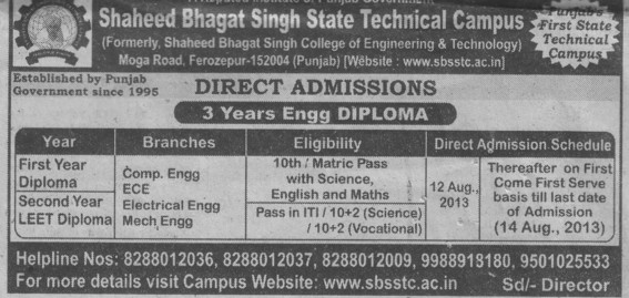 Diploma in Engg (Shaheed Bhagat Singh State (SBBS) Technical Campus)