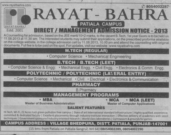 BTech and MTech (Rayat and Bahra Group)