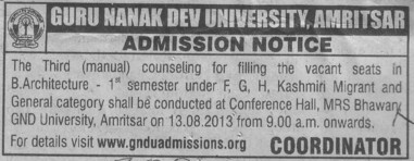 B Arch course (Guru Nanak Dev University (GNDU))