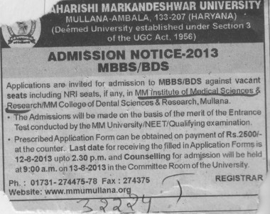 MBBS and BDS (MM Institute of Medical Sciences and Research (MMIMSR))