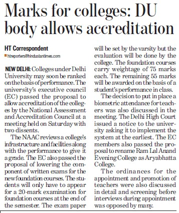 Marks for colleges, DU body allows accreditation (Delhi University)