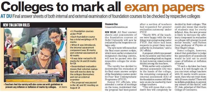 Colleges to mark all exam papers (Delhi University)