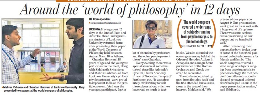 Around the world of philosophy in 12 days (Lucknow University)