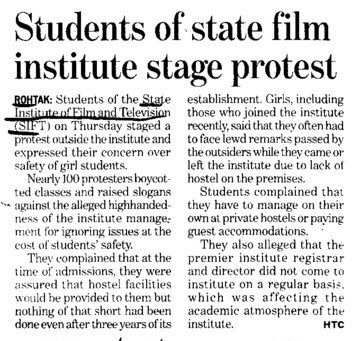 Students of state film institute stage protest (State Institute of Film and TV (SIFTV))