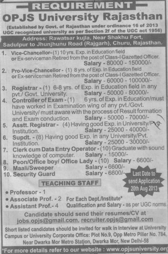 Clerk cum data entry operator (OPJS University)