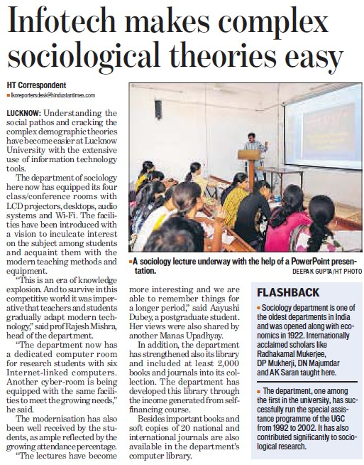 Infotech makes complex sociological theories easy (Lucknow University)