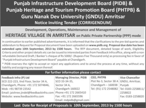 Maintenance of heritage village in Amritsar (Guru Nanak Dev University (GNDU))