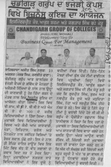 Quiz compitition (Chandigarh Group of Colleges)
