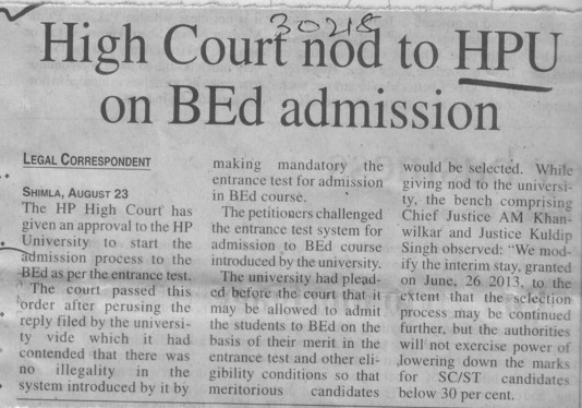 HC nod to HPU on B Ed admission (Himachal Pradesh University)