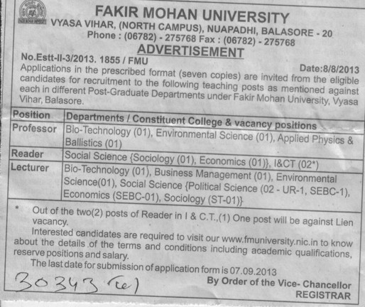 Reader and Lecturer (Fakir Mohan University)