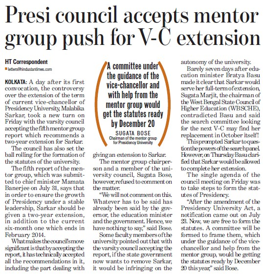 Presi council accepts mentor group push for VC extension (Presidency University)