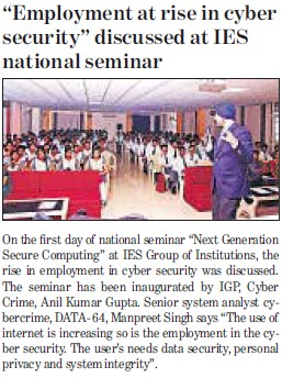 Employment at rise in cyber security discussed at IES National Seminar (IES Group of Institutions)