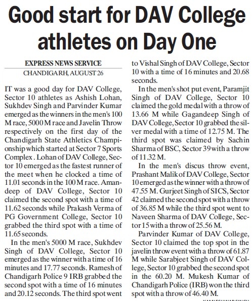 Good start for DAV College athletes on day one (DAV College Sector 10)