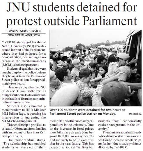 JNU student detained for protest outside Parliament (Jawaharlal Nehru University)
