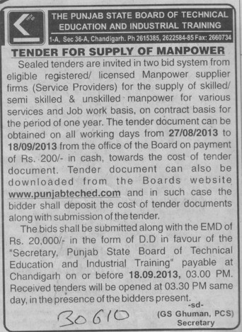 Supply of Manpower (Punjab State Board of Technical Education (PSBTE) and Industrial Training)