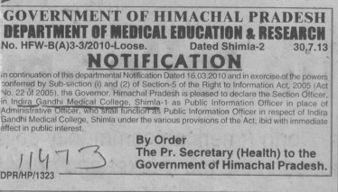 Section Officer appointed as PIO (Indira Gandhi Medical College (IGMC))