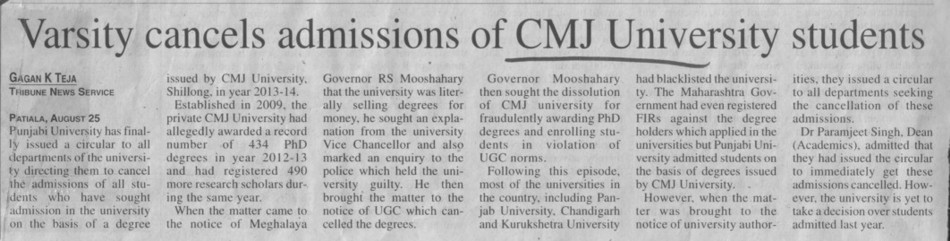 Varsity cancels admissions of CMJ students (Chander Mohan Jha (CMJ) University)