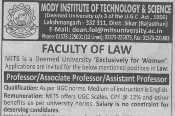 Asstt Professor (Modi University of Science and Technology (MITS))