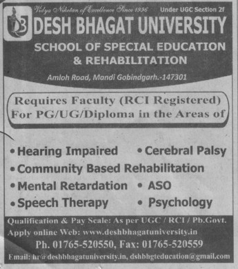 Faculty for speech therapy (Desh Bhagat University)