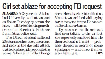 Girl set ablaze for accepting FB request (University of Allahabad)