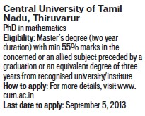 PhD in Mathematics (Central University of Tamil Nadu (CUTN))