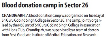 Blood donation camp (SGGS Khalsa College Sector 26)