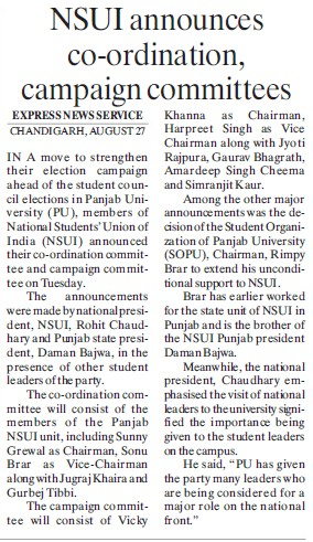 NSUI announces coordination compaign committees (National Students Union of India NSUI Punjab)
