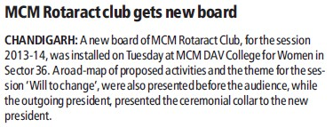 MCM rotaract club gets new board (MCM DAV College for Women)